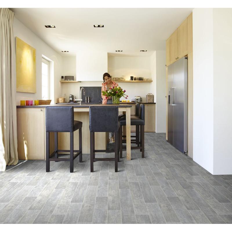 Sol PVC - Washed Oak 970D lames chêne gris - Hightex BEAUFLOR - rouleau 4M