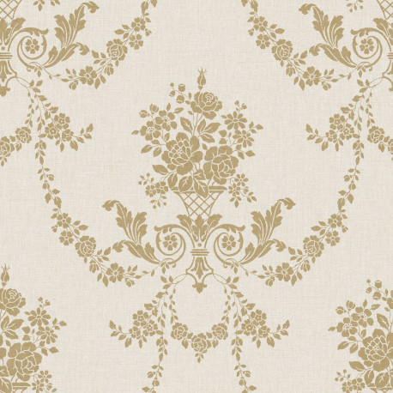Papier peint Marquise or / fond beige clair - FARO - Caselio - FAO69052016