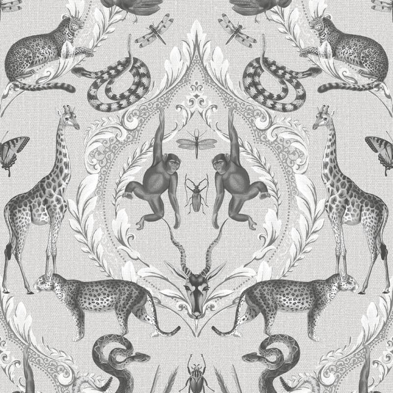 Papier peint Ménagerie gris - BAMAKO - Lutèce - G78310