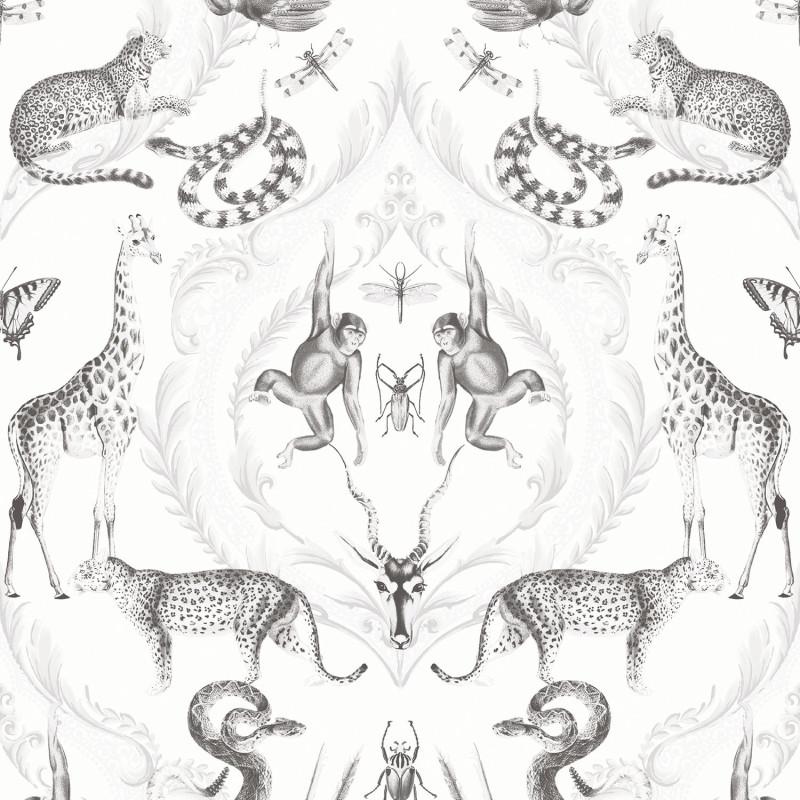Papier peint Ménagerie blanc et gris - BAMAKO - Lutèce - G78314