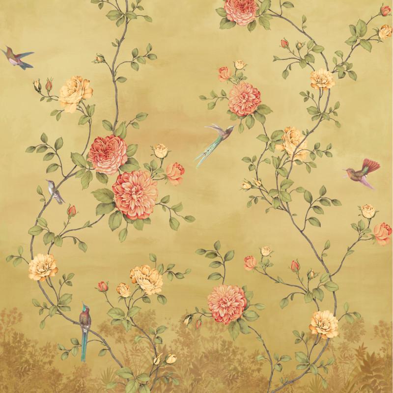 Papier peint Décor Mural Rosier ocre 4 Lés - BLOOM - Lutèce - BLO455DX