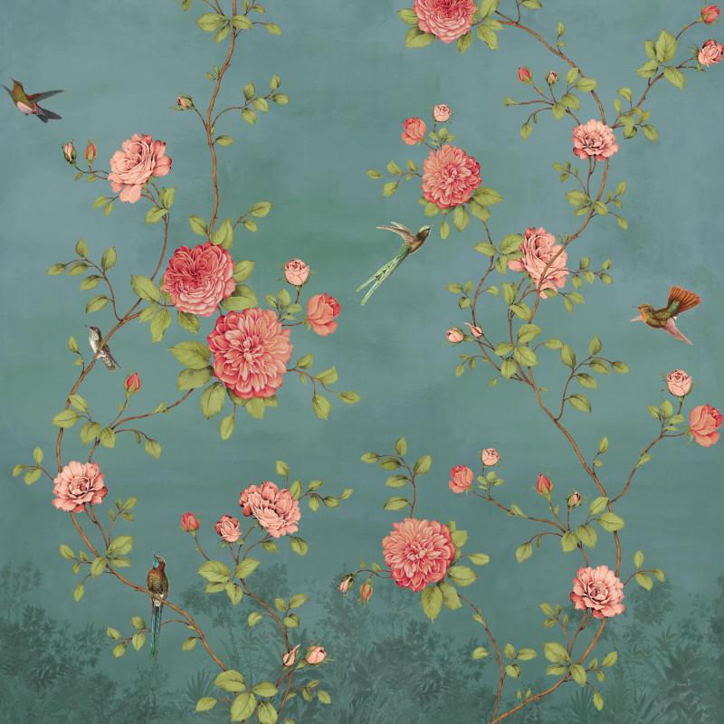 Papier peint Décor Mural Rosier bleu 4 Lés Impression Numérique - BLOOM - Lutèce - BLO456DI