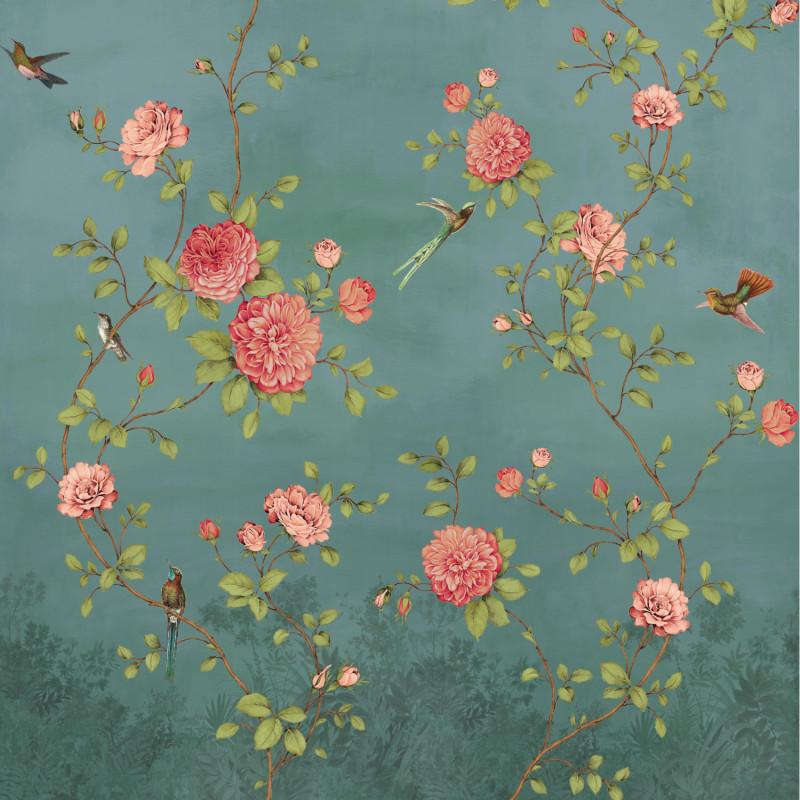 Papier peint Décor Mural Rosier bleu 4 Lés - BLOOM - Lutèce - BLO456DX