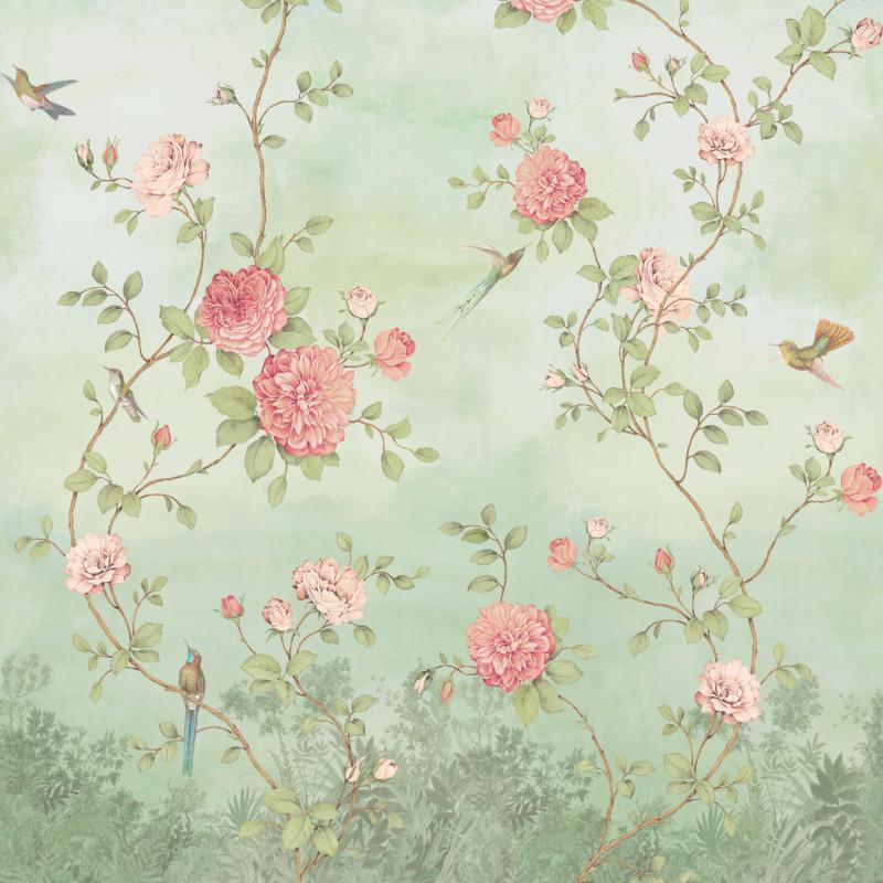 Papier peint Décor Mural Rosier aqua 4 Lés Impression Numérique - BLOOM - Lutèce - BLO457DI