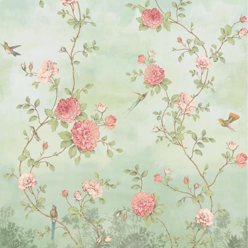 Papier peint Décor Mural Rosier aqua 4 Lés - BLOOM - Lutèce - BLO457DX