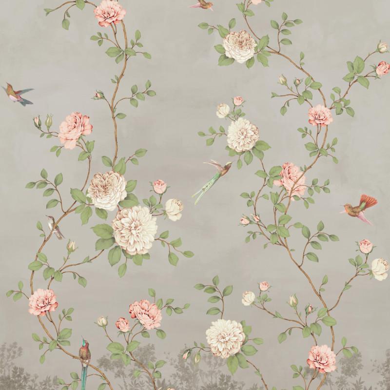 Papier peint Décor Mural Rosier taupe 4 Lés Impression Numérique - BLOOM - Lutèce - BLO459DI