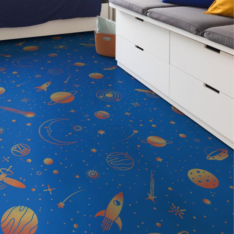 Sol PVC - Space 575 planètes et vaisseaux sur fond bleu - Atento IVC - rouleau 2M