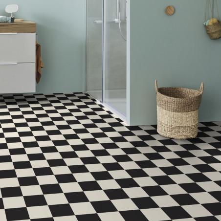 Sol PVC - Echiquier damier noir et blanc - Iconik Resist TARKETT - rouleau 2M