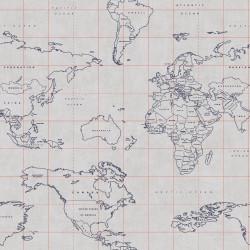 Papier peint Map World bleu encre, gris et corail - TONIC - Caselio - TONI69473328
