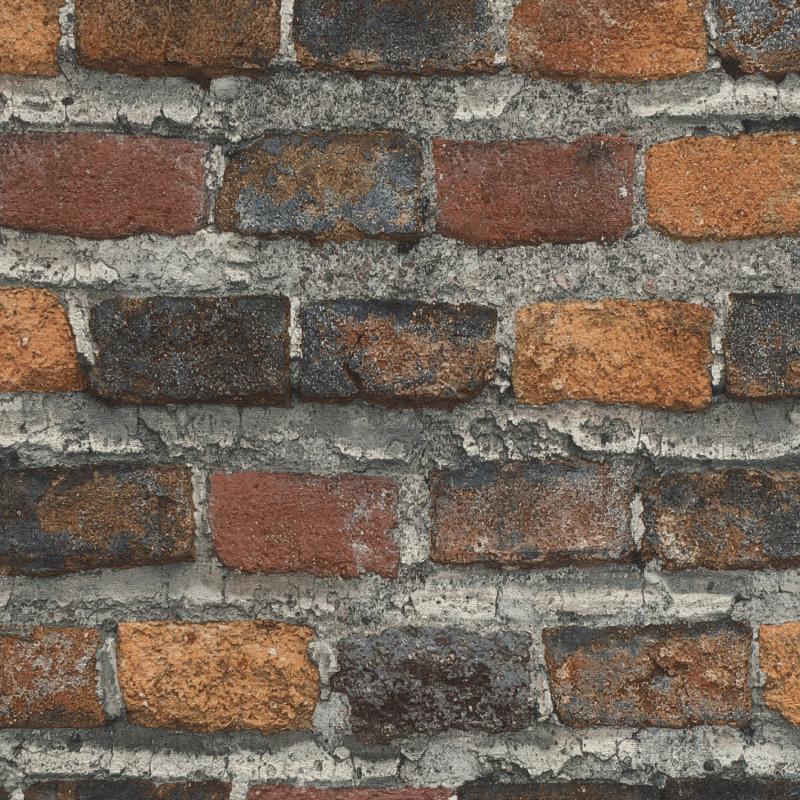 Papier peint Briques marron foncé - FACTORY IV - Rasch - 428063