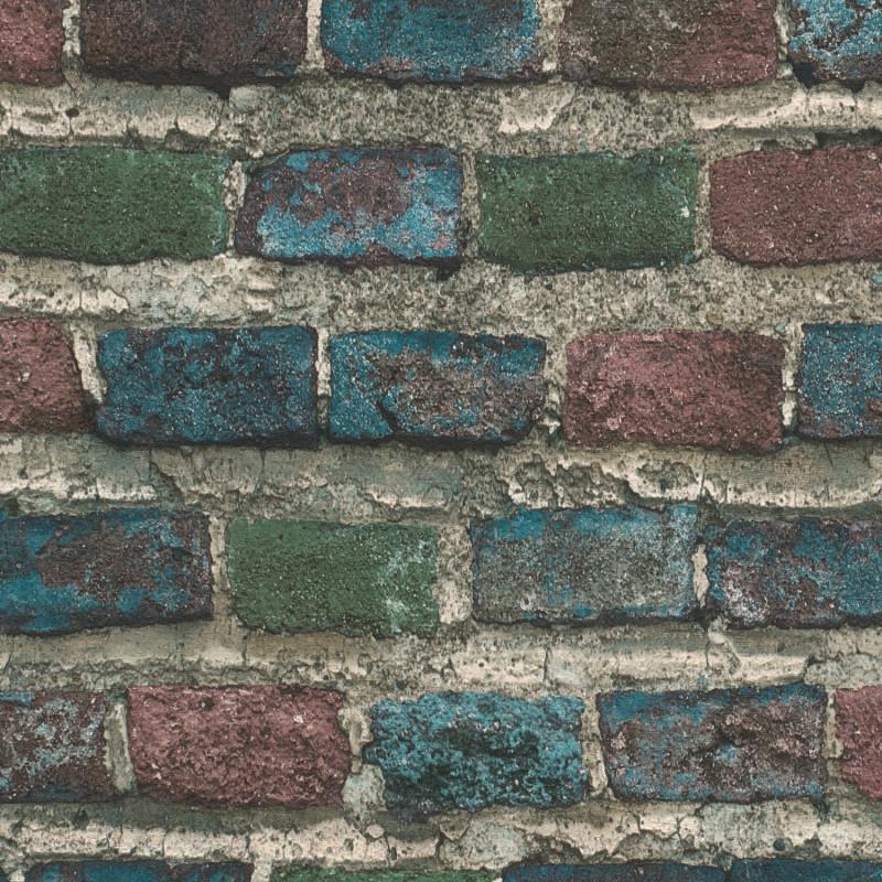 Papier peint Briques multicolore - FACTORY IV - Rasch - 428070