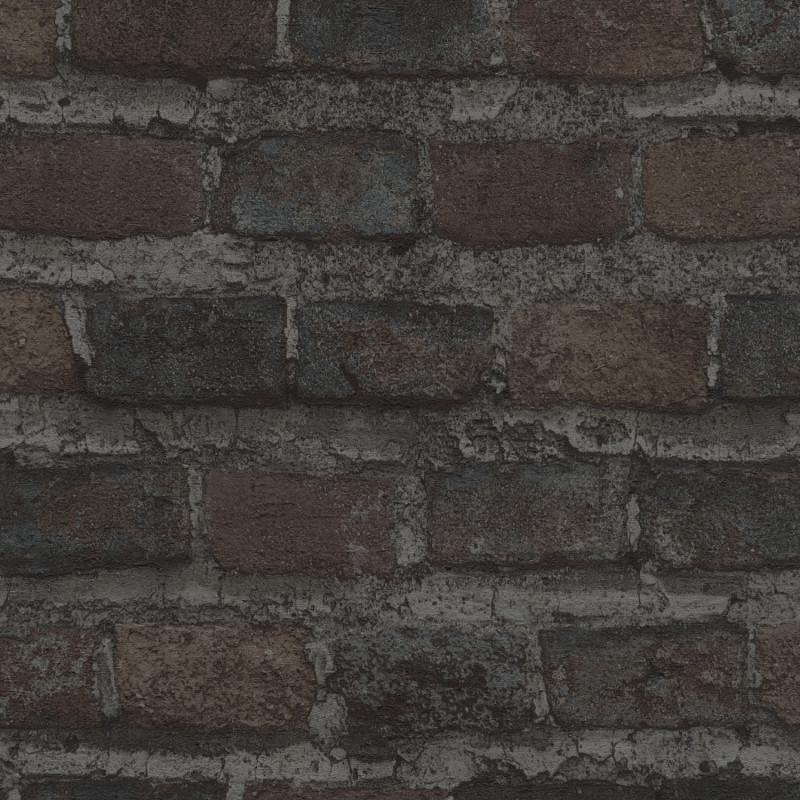 Papier peint Briques noires - FACTORY IV - Rasch - 428087
