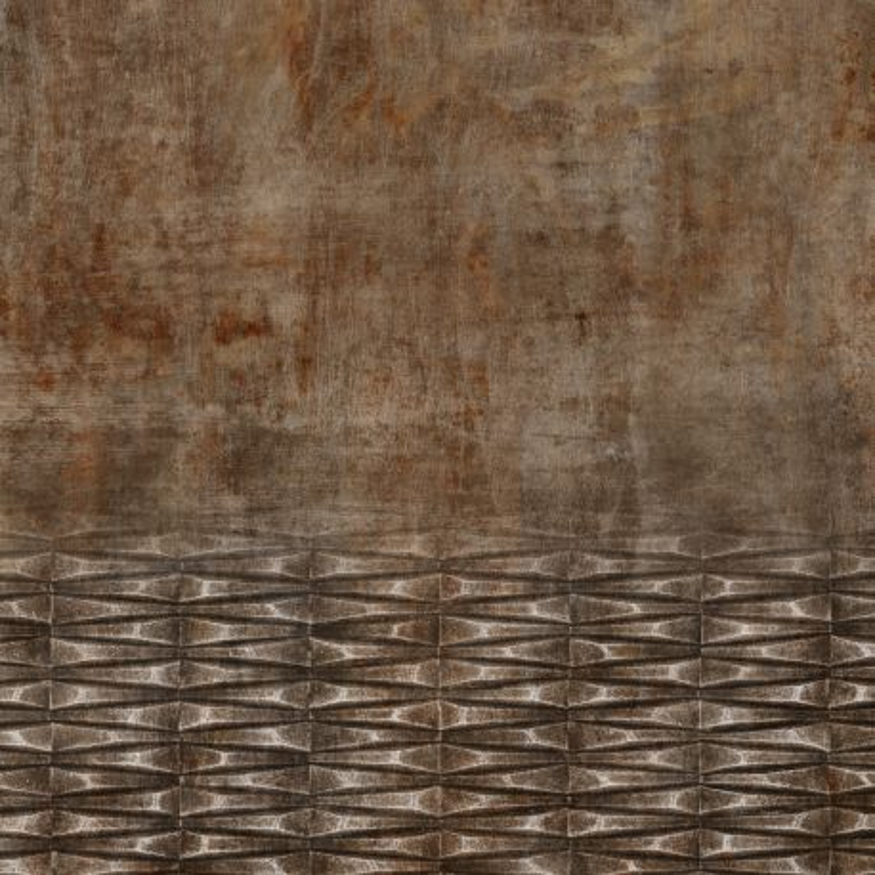 Panoramique Tole Rouillée Et Gondolée marron - FACTORY IV - Rasch - 429770