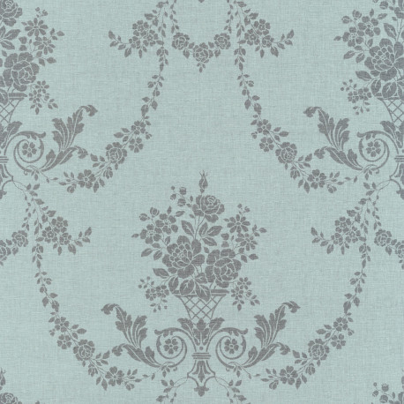 Papier peint Marquise argent / fond turquoise - FARO - Caselio - FAO69059069