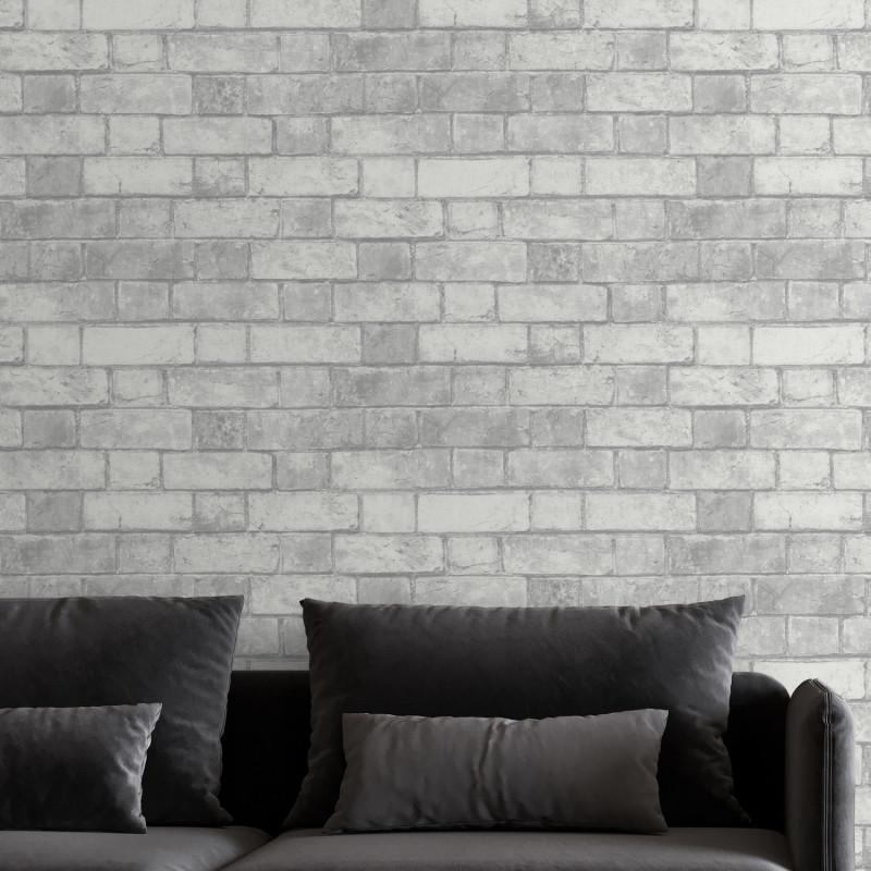 Papier peint trompe l'œil Briques blanches - Ugepa - M344-39