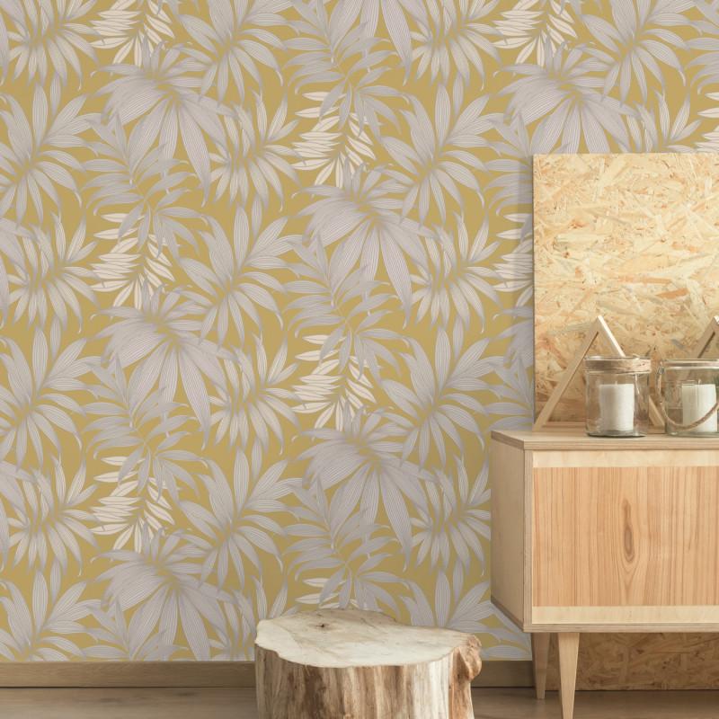 Papier peint Vogue Yellow & Silver palmes argentées - HISTORIAN - Grandeco - A45301