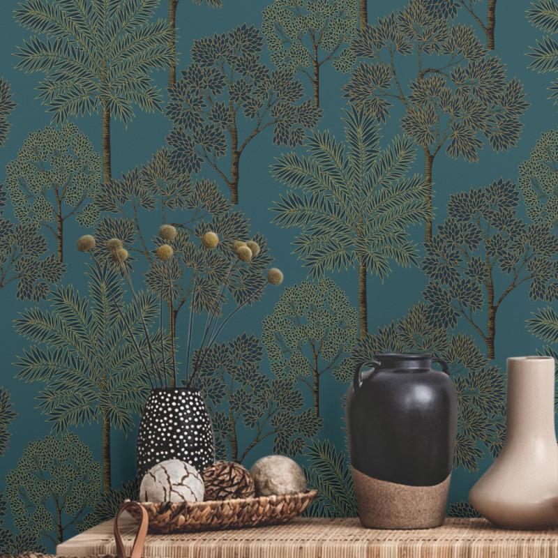 Papier peint City Of Palms Teal bleu canard - HISTORIAN - Grandeco - A49802