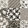 Sol PVC - Provence carreaux de ciment noir et blanc - Booster GERFLOR - rouleau 4M