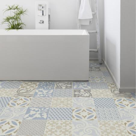 Sol PVC - Provence Azur carreaux de ciment bleu - Booster GERFLOR - rouleau 2M