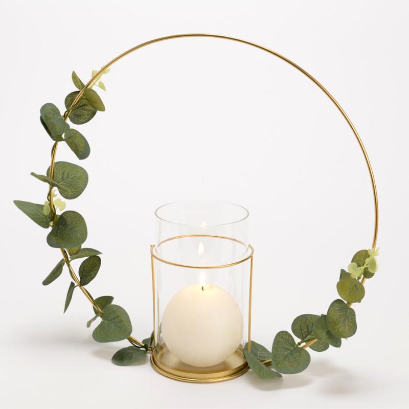 Photophore Couronne doré Eucalyptus  - Amadeus