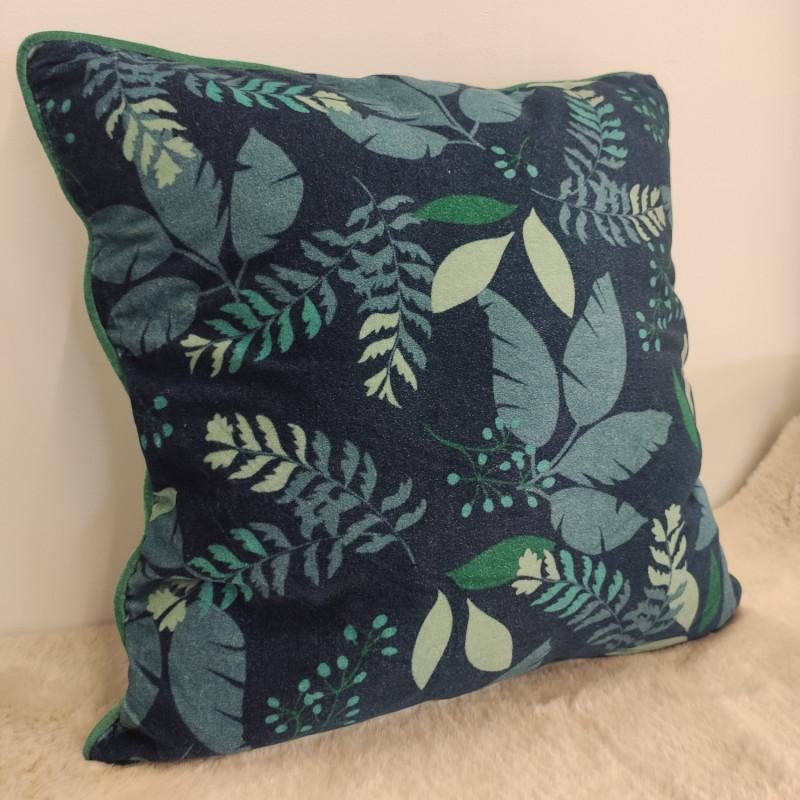 Coussin Nuit Bleue floral vert et marine - 50x50cm - Amadeus