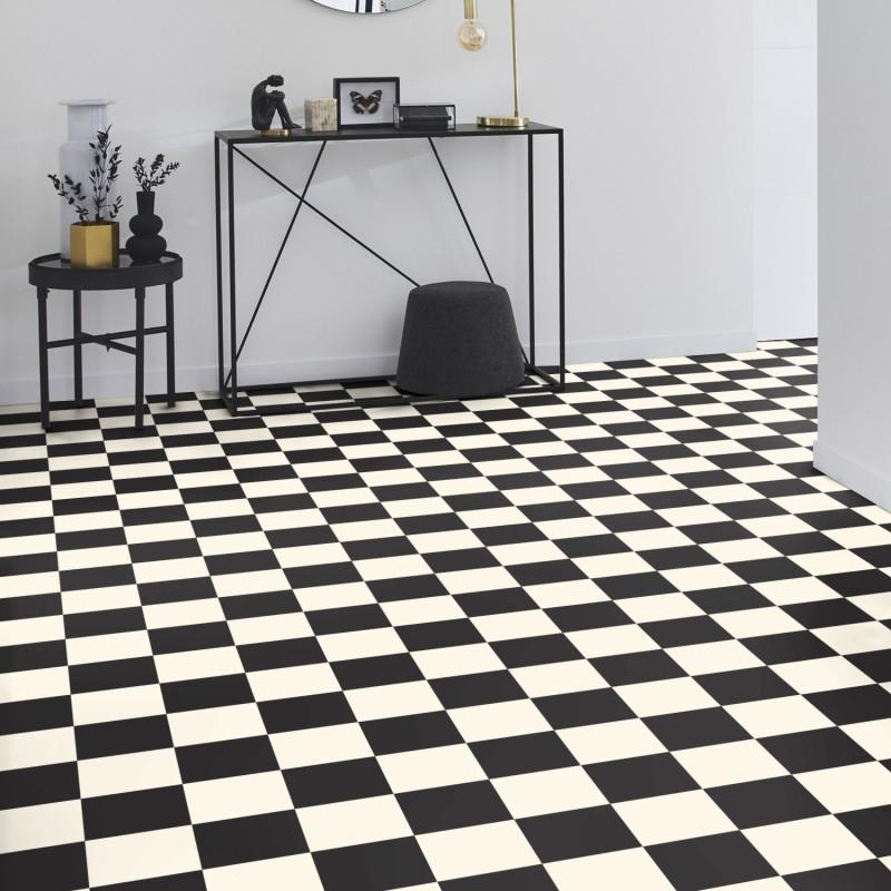 Sol PVC - Echiquier 2 black & white - Iconik Life TARKETT - rouleau 4M