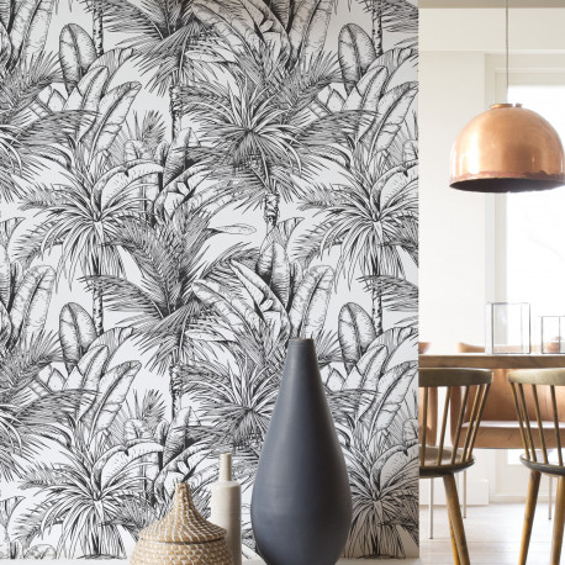 Papier peint intissé TROPIC XL noir et blanc - Rasch 478013