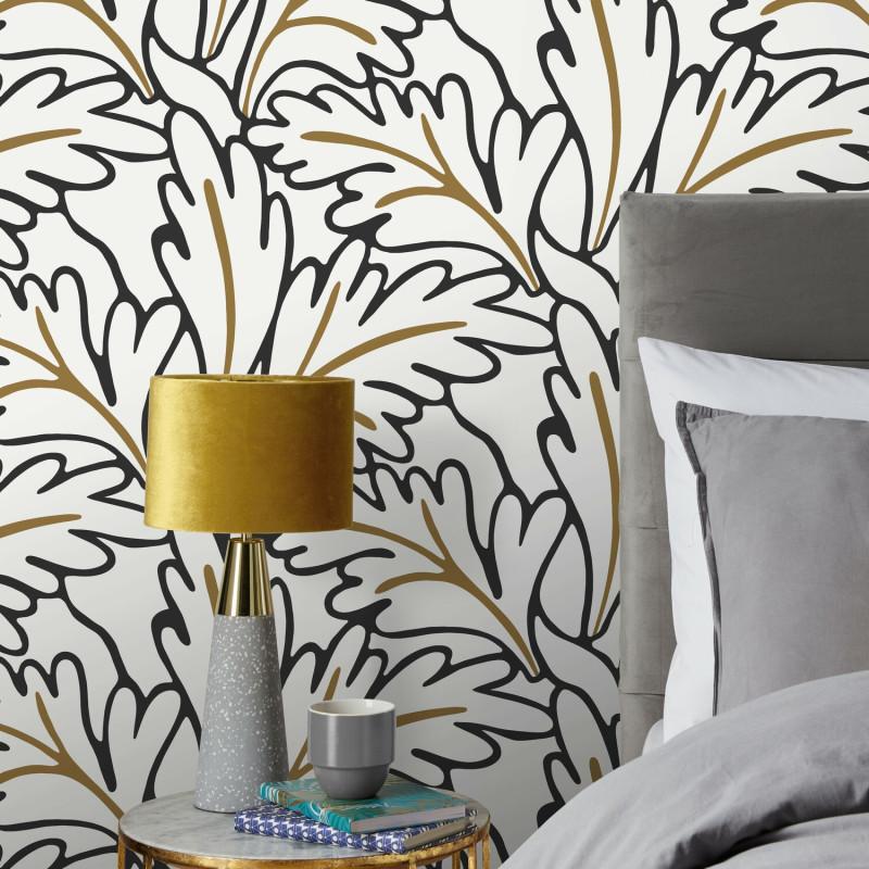 Papier peint intissé MATISSE noir et blanc, doré - Rasch 465686
