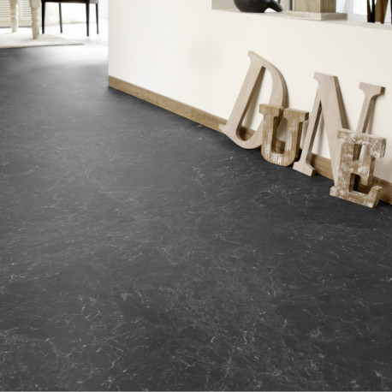Sol PVC - Nero Marquine Black marbre noir - Iconik Life TARKETT - rouleau 4M