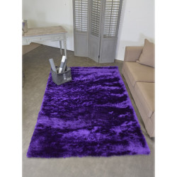 Tapis shaggy uni mauve pailleté FASHION 160x230cm.