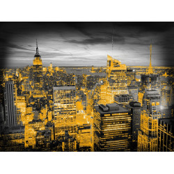 Toile imprimée City Night avec des fils d'or. 60x80cm - Graham & Brown