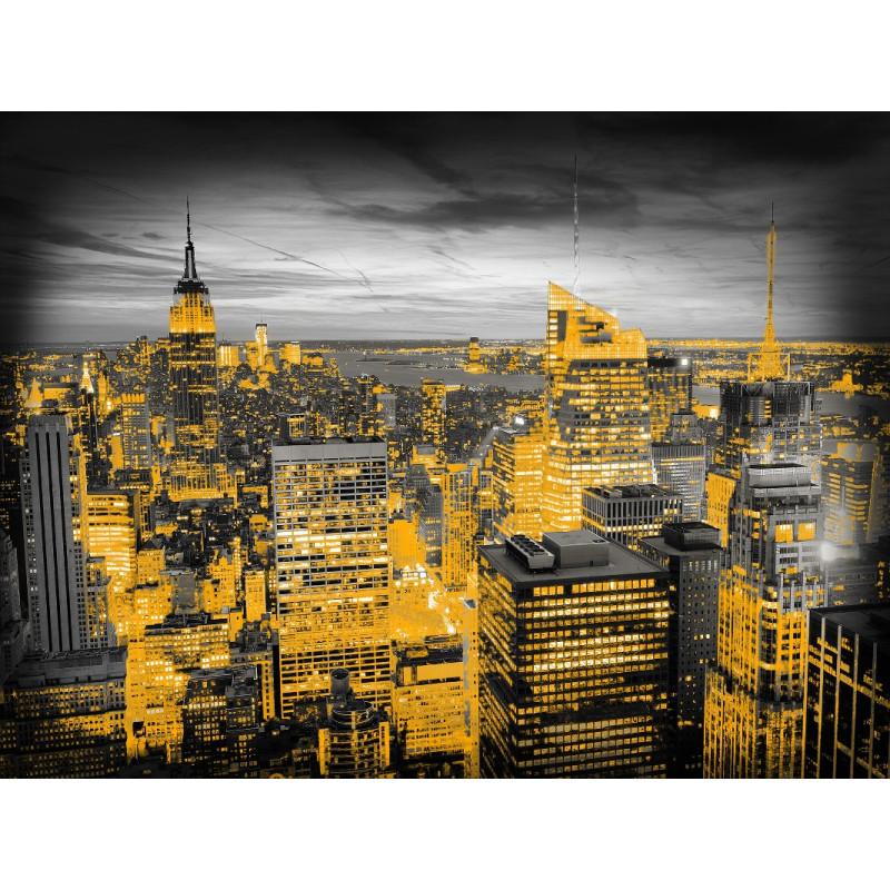 Toile imprimée City Night avec des fils d'or. 60x80cm - Graham & Brown