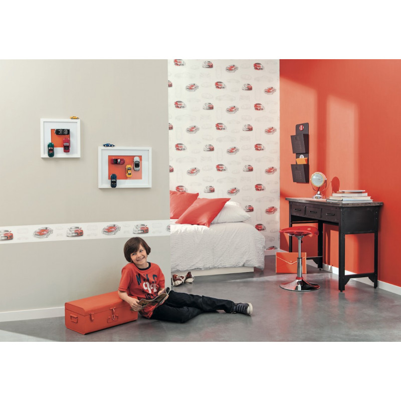 frise papier peint voitures rouge only boys caselio. Black Bedroom Furniture Sets. Home Design Ideas