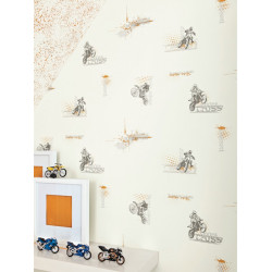 Papier peint Motocross orange - ONLY BOYS - Caselio - OLB64813002