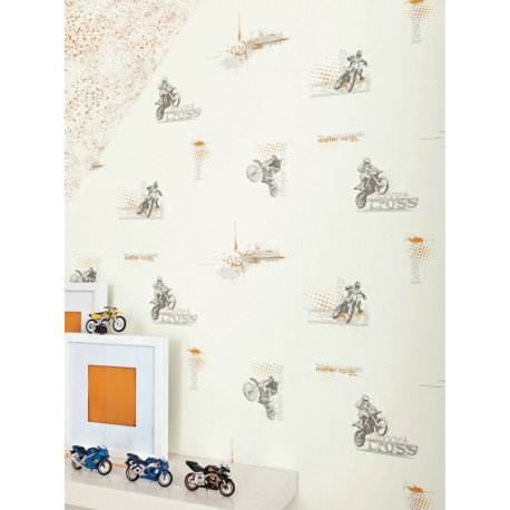 Papier peint Motocross orange - ONLY BOYS - Caselio - OLB64813002