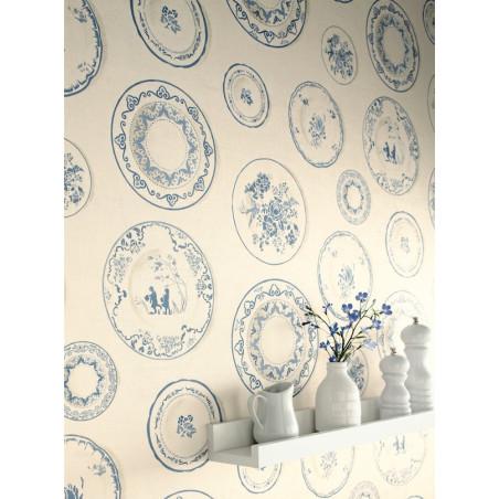 Papier peint Assiettes bleu - CAVAILLON - Caselio - CAV65046064