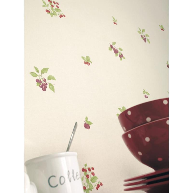 Papier peint à motif Fruits placés rouge - Cavaillon - Caselio