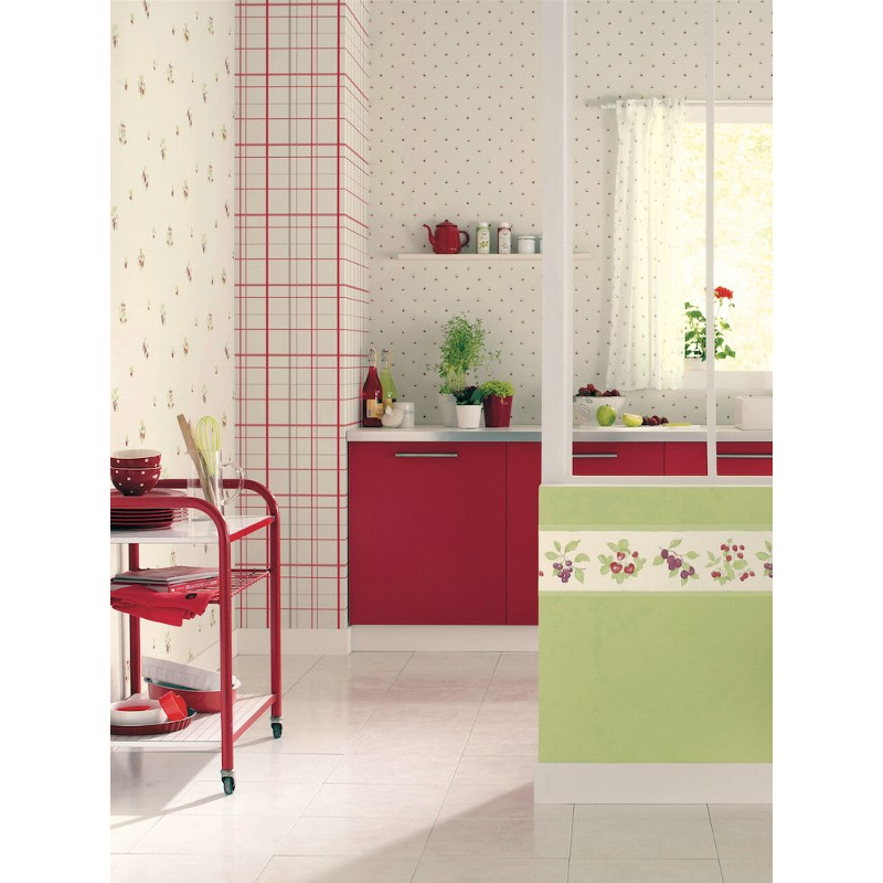 papier peint motif torchon de cuisine rouge cavaillon. Black Bedroom Furniture Sets. Home Design Ideas