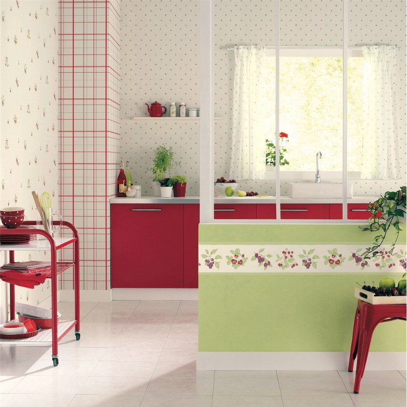 papier peint motif torchon de cuisine rouge cavaillon caselio clicjedecore. Black Bedroom Furniture Sets. Home Design Ideas