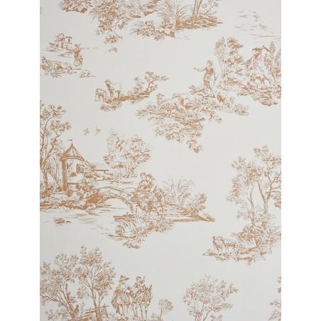 Papier peint à motifs Jouy marron clair - Chantilly - Casadeco