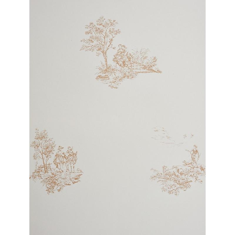 papier peint motifs plac s jouy marron clair chantilly casadeco clicjedecore. Black Bedroom Furniture Sets. Home Design Ideas