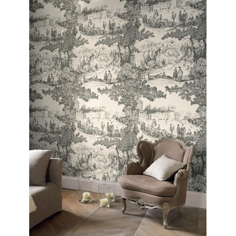Panoramique Papier Peint A Motifs Jouy Gris Chantilly Casadeco