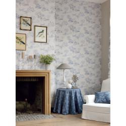 Papier peint à motifs Jouy bleu - Chantilly - Casadeco