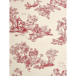 Papier peint à motifs Jouy rouge - Chantilly - Casadeco