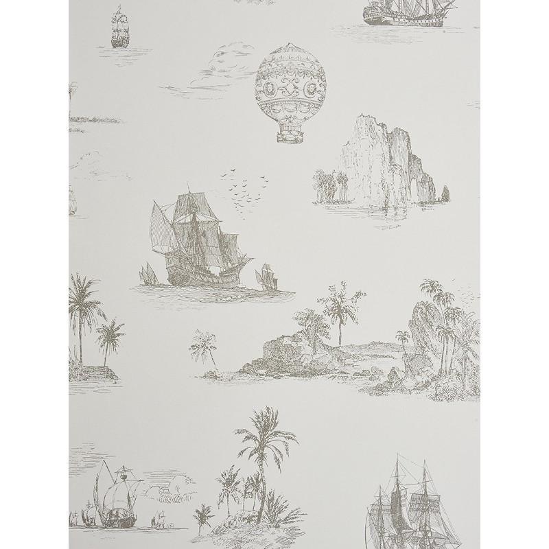 Papier peint à motifs Voyage gris - Chantilly - Casadeco