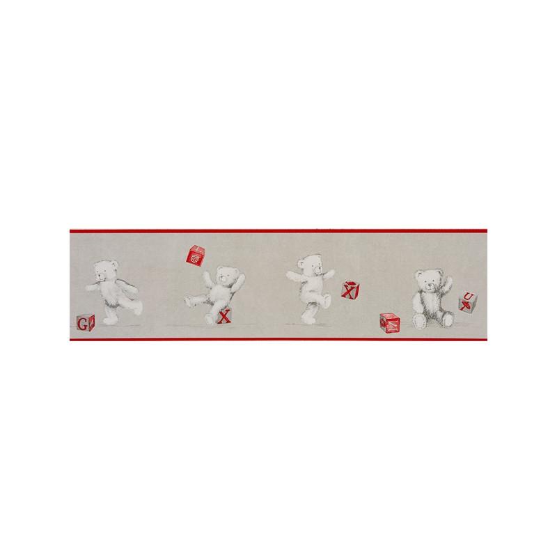 frise papier peint enfant oursons et cubes rouge douce nuit casadeco clicjedecore. Black Bedroom Furniture Sets. Home Design Ideas