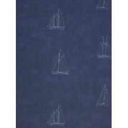 Papier peint à motif Bateau Bleu - Marina - Casadeco