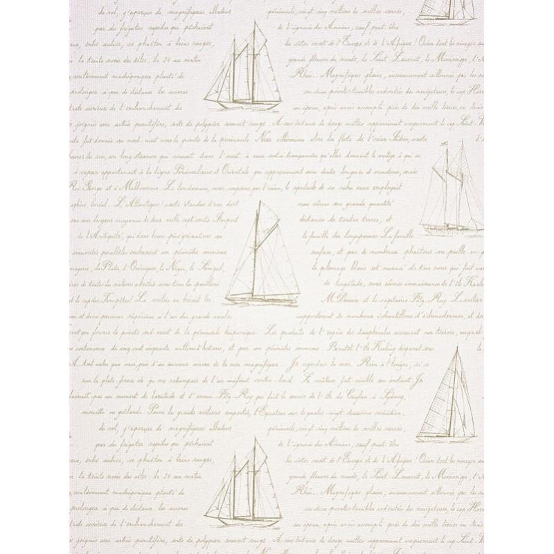 Papier peint à motif Bateau Ecriture Beige - Marina - Casadeco