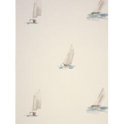 Papier peint à motif Bateau Aquarelle Turquoise - Marina - Casadeco