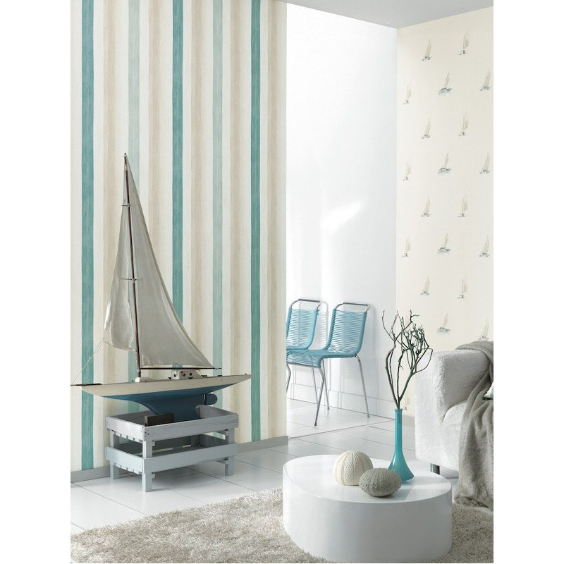 papier peint rayure aquarelle turquoise marina casadeco. Black Bedroom Furniture Sets. Home Design Ideas